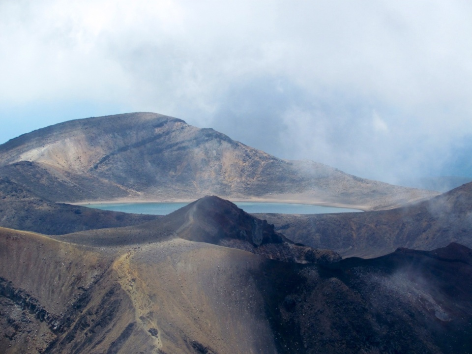 View of the Blue Lakes across the valley